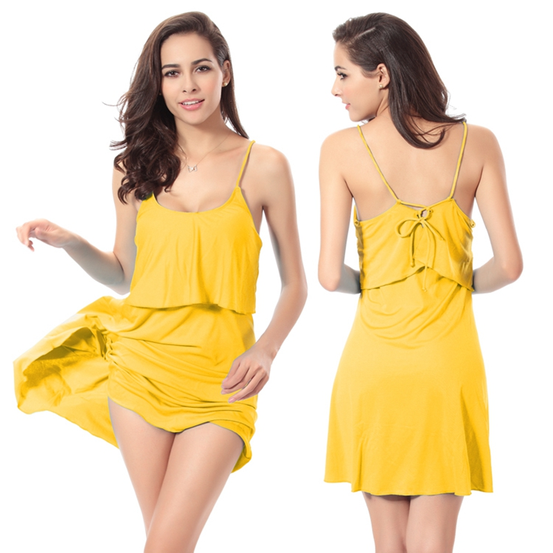 2017Hot Vente Femmes Solide Couleur Accolades Jupe Plage Cover Ups Sexy Dos Nu Beachwear Maillots De Bain Maillot de bain 11 Couleurs Robe De Bain - 5