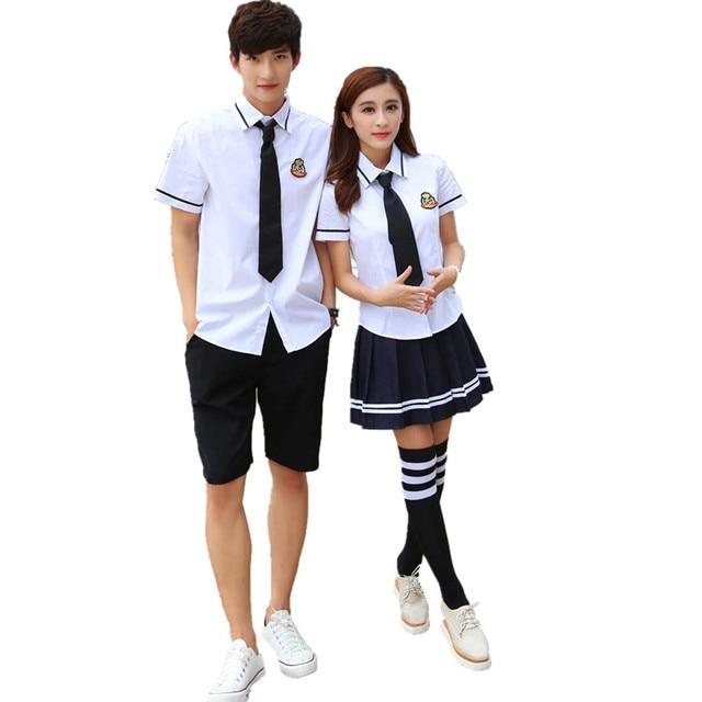 8b4b8fcb11 Korean school uniforms white Shirt + Skirt For Student Girls Shirt + Pants  japanese school uniform for boys cosplay costume. 1 order