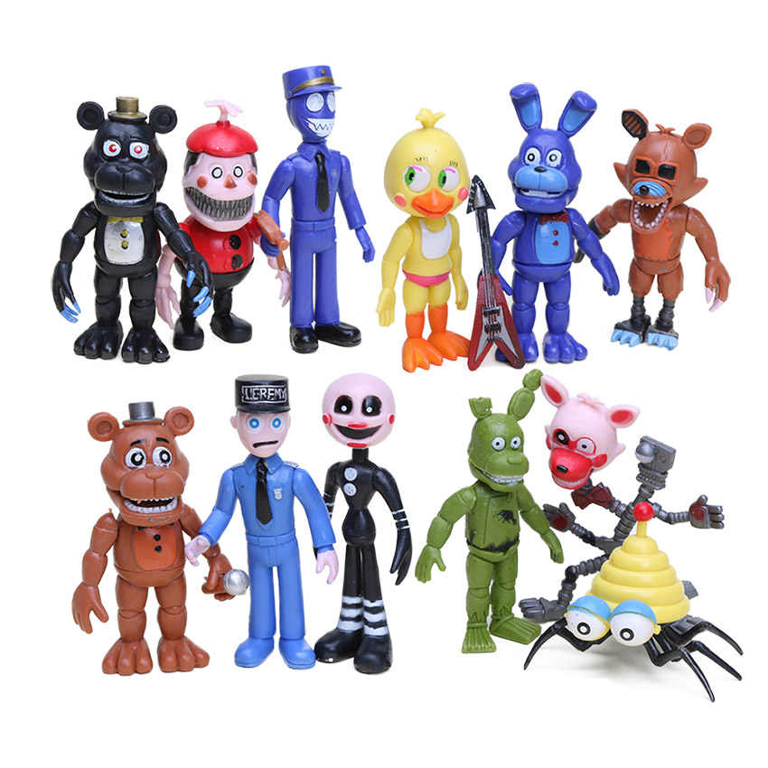 In Stock Five Nights At Freddy's Action Figures Set FNAF Foxy Chica Bonnie Freddy Fazbear Sister Location Model Dolls FNAF Toys
