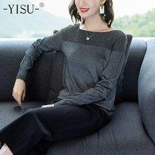 9f942dea991 YISU пуловеры 2018 осень зима женский свитер с круглым вырезом Женский  Хеджирование Свободный пуловер Повседневный яркий