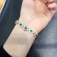 Real Qi Xuan_Fashion Jewelry_Colombia Green Stone Fashion Bracelets_S925 Solid Silver Bracelet_Factory Directly Sales