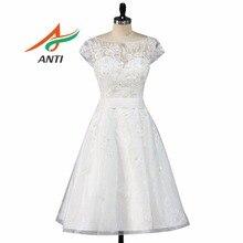 ANTI Simple Rodilla-Longitud Vestido de Novia 2017 Apliques de Perlas de Novia Vestidos Vestido De Noiva Casamento Robe Femme Enceinte Hqy1281