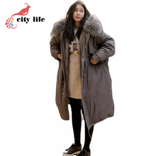 Plus Size X-long Style Winter Jackets Woman ,2016 New Fur Hooded Cool Khaki Gray Windproof Cotton Coat Over Size Parkas