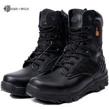 Winter Men Military Combat Boots Leather Desert Work Safety Shoes Tactical