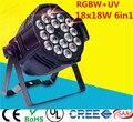 18x18 w rgbwa + uv 6in1 led par luz dj par de latas de alumínio do escudo da liga