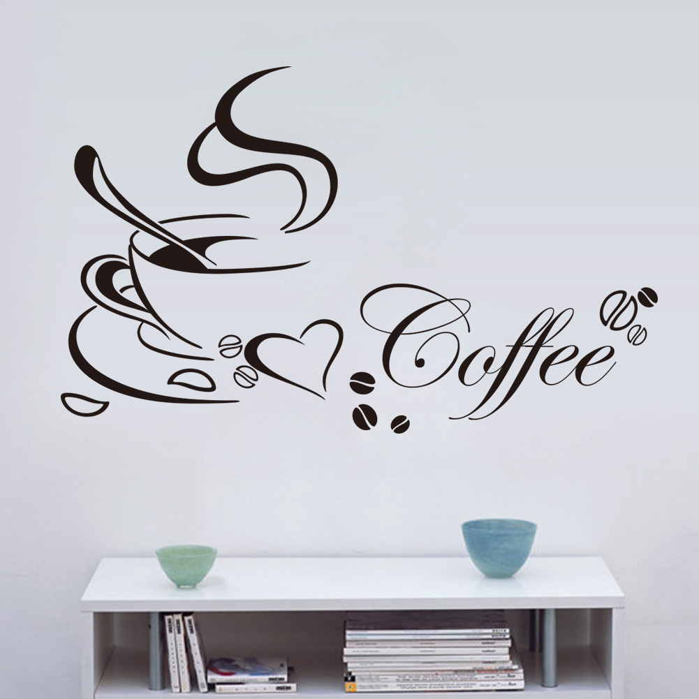 Wall art kitchen quotes - Cafe Decoration Coffee Cup With Heart Vinyl Quote Restaurant Kitchen Removable Wall Stickers Diy Home Decor