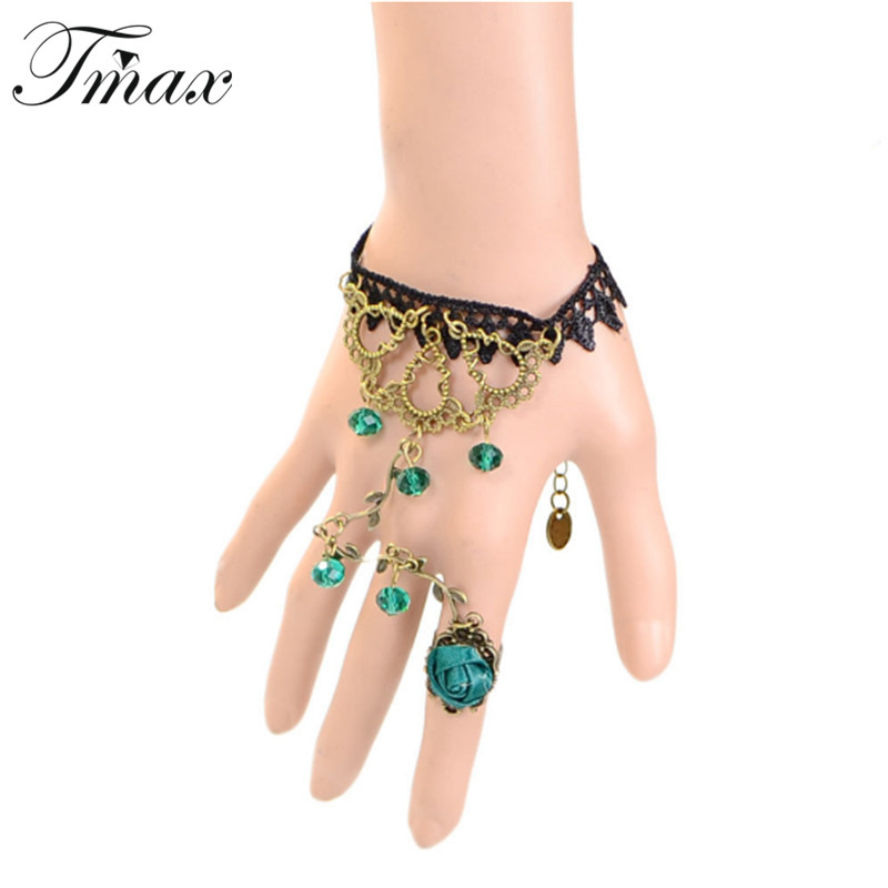 Black bracelets & bangles vintage wristband Green Crystal Rose Flower Charms accessories Gothic jewelry Bracelet For Women 1232