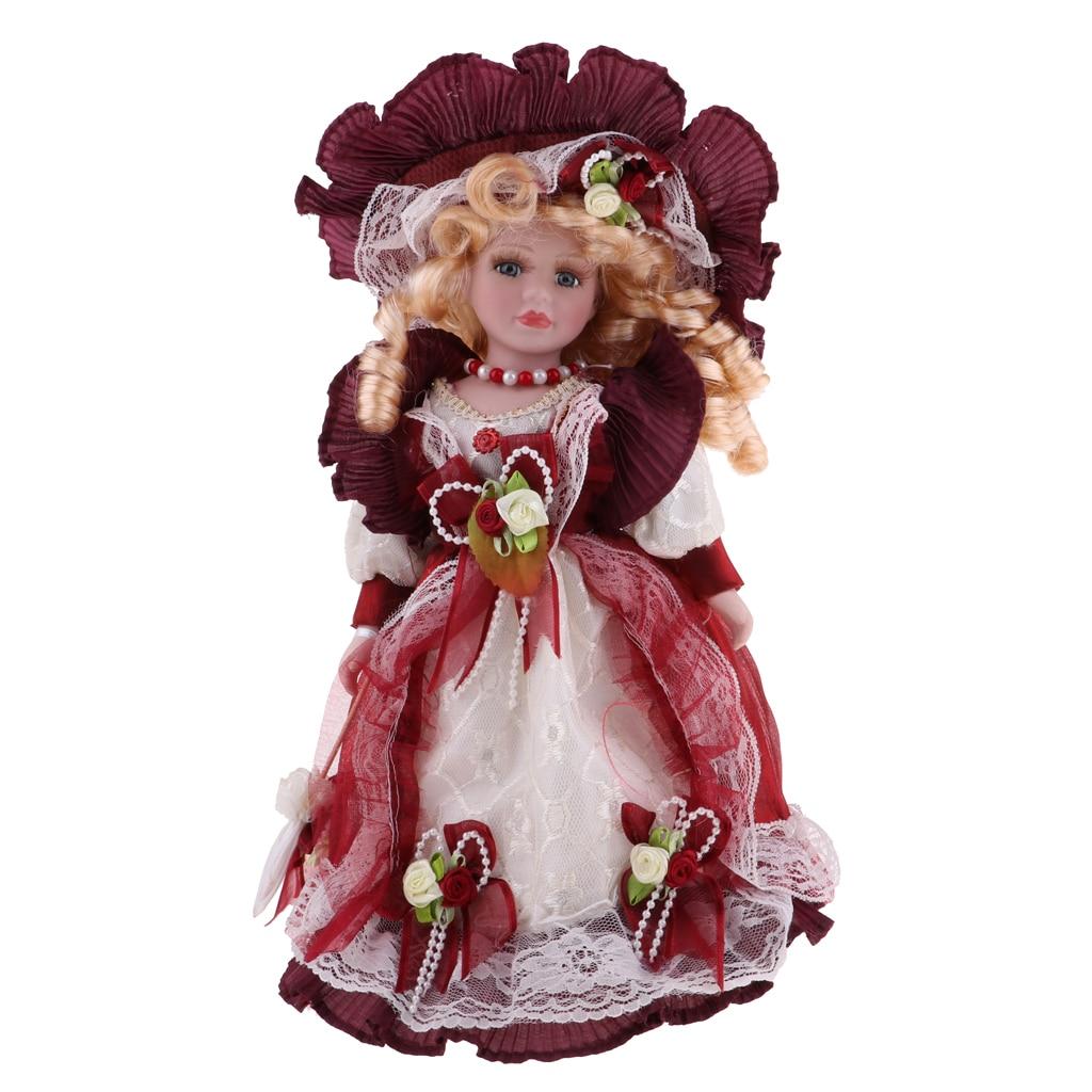 30cm Porcelain Doll Victorian Lady in Burgundy Dress Gown People Figure Vintage Dollhouse Miniature