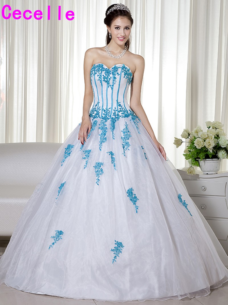 Bunte Nicht Traditionelle Frauen Blaue Und Weiße Hochzeitskleider ...