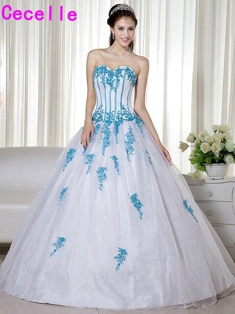 3e868fe98210 Colorful Non Tradizionali Delle Donne Blu E Bianco Abiti Da Sposa Due Toni  Corsetto Dell