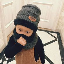 Шапки, шарф для девочек и мальчиков, детские шерстяные вязаные шапки, зимняя плотная Балаклава, маска для лица, шапки, кашемировые Детские шапочки двойного назначения