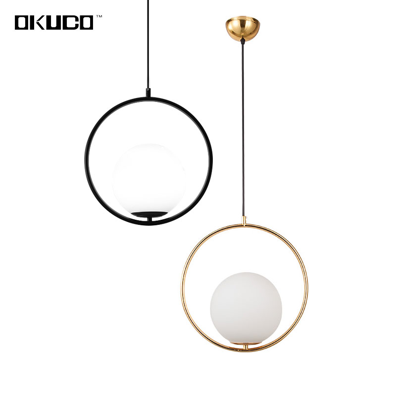 Modern Round Glass Ball Pendant Lights Fixtures For Dining Room Coffee Restaurant Decorated Black Gold Hanging Lamp Luminaire bamboo round ball pendant lights for