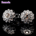Romeda Copper Cufflinks New Designer Brand Round Crystal Business Shirt High Quality Cufflinks For Mens Bright Jewelry