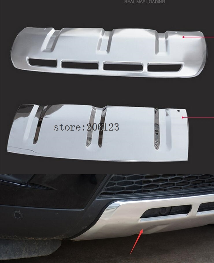 2pcs Stainless Steel Front + Rear Bumper Guard Protector Skid Plate Board For Land Rover Discovery Sport 2014 2015 2016 2017 stainless steel rear outer bumper protector guard plate for jeep grand cherokee 2014