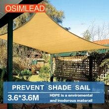 Хранить ультрафиолетового (УФ) 95% osimlead 3.6*3.6 м 12'x12 hdpe солнце парус тени чистая