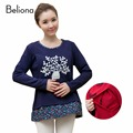 4 Color Winter Warm False Two Pieces Breastfeeding T Shirts Plus Velvet Embroidery Nursing Clothes Splicing Maternity Tops