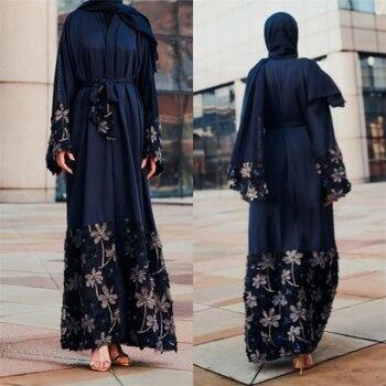 b9e9243ed617 2019 г. Лидер продаж Винтаж женские Дубай Кафтан абайя Турецкая одежда  открытой ...
