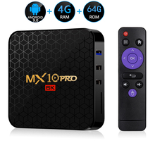 Android 9.0 TV Box MX10 PRO 4GB RAM 64GB Wifi Allwinner H6 czterordzeniowy USB 3.0 6K Google Player Youtube Tanix dekoder