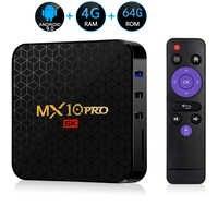 Android 9.0 TV Box MX10 PRO 4 go de RAM 64 go Wifi Allwinner H6 Quad Core USB 3.0 6K Google Player Youtube Tanix décodeur