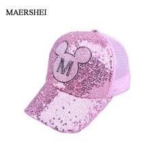 MAERSHEI girls Sequins Ear Hats Kids Snapback Mesh Baseball Cap