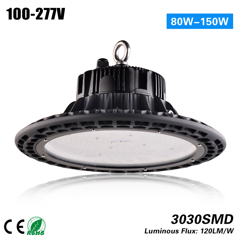 Free shipping 100-277VAC CE ROHS listed 100w UFO high bay dimmable with aluminum heat sink for 300w Metal Halid replacement