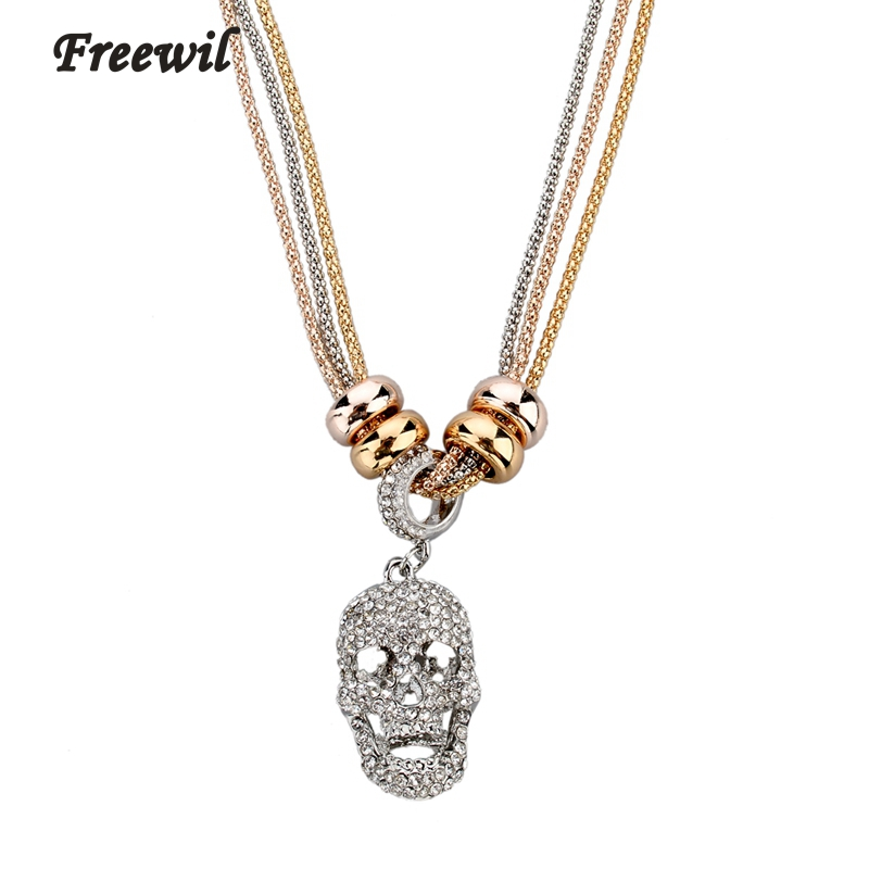 Diamante Crystal SKULL Pendant Charm Statement Necklace Steam Punk Gothic