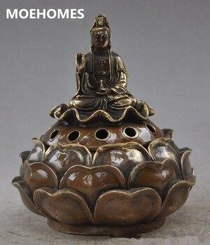 MOEHOMES*15 cm/Chinese buddhist brass l guanyin bodhisattva lotus incense burner Metal crafts family decorations incense burner