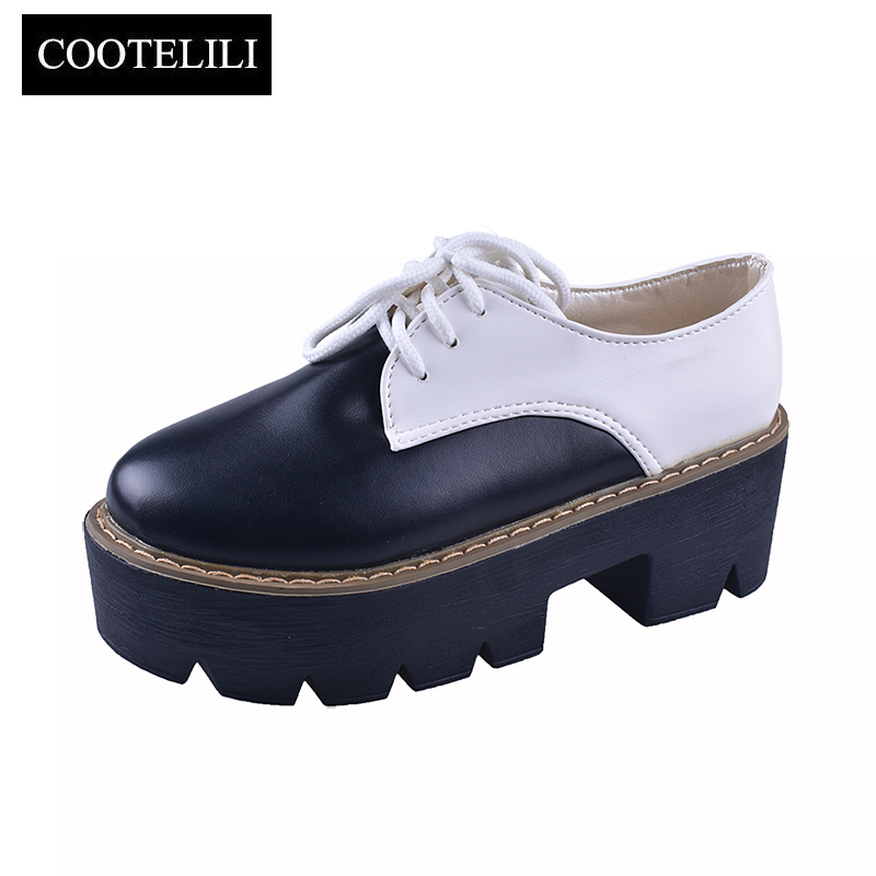 COOTELILI Fashion Lace-Up Creepers Flat Platform Shoes Women Sneakers Leather Woman Oxford Slip On Ladies Casual Shoes Black doratasia flowers embroidery women shoes sneakers lace up fashion flat platform ladies shoes woman high quality