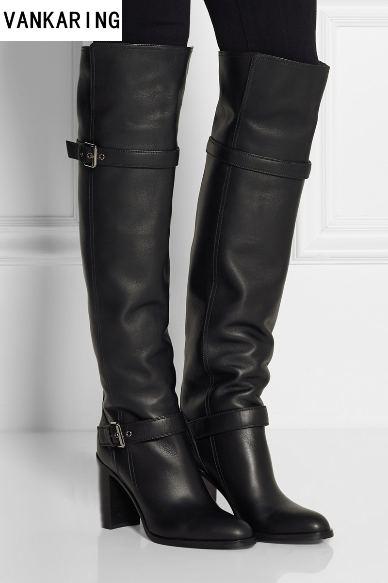 brand fashion autumn winter warm short plush boots women over the knee high boots black leather female high heel shoes plus size