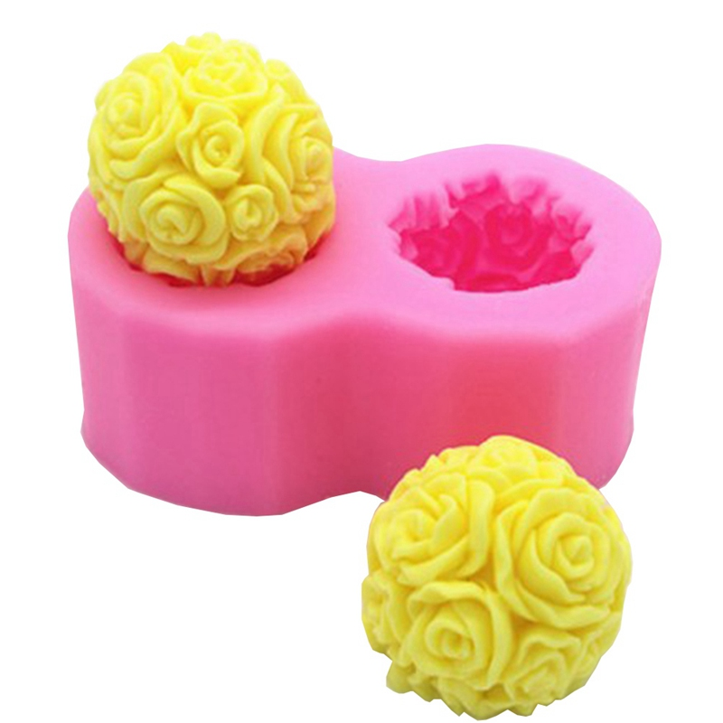 Decorative Soap Balls: 3D Rose Cake Mold Double Flower Ball Shaped Silicone