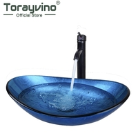 Torayvino Artist Bathroom Round Blue Tempered Glass Oval Wash Basin ORB Brushed Faucet Chrome Pop Up