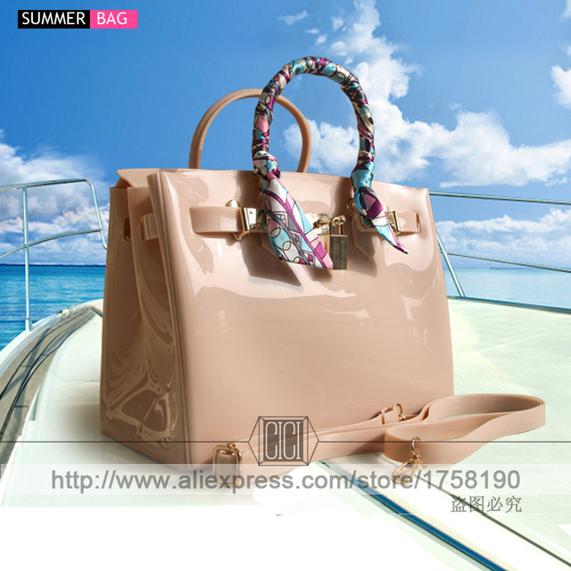 2017 hot sale new luxury handbags women bags designer women fashion candy color handbag Jelly bags PVC waterproof beach bag