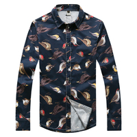 Leisure Shirt For Men Bird Printed Floral Large Size Cotton Fit Non Ironing Fashion Shirt Long