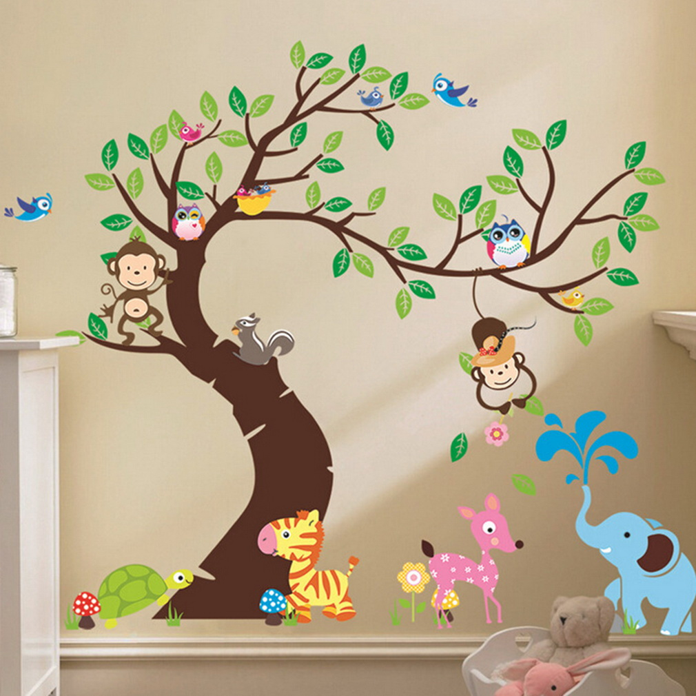 Cute Monkey Wall Sticker Zoo Original Animal Wall Arts For Kids Room Tree Wall  Decal Baby