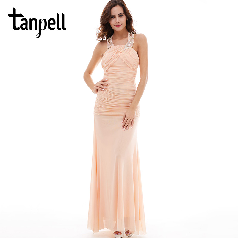 Tanpell halter evening dress pearl pink sleeveless straight floor length dresses party beaded ruched long formal