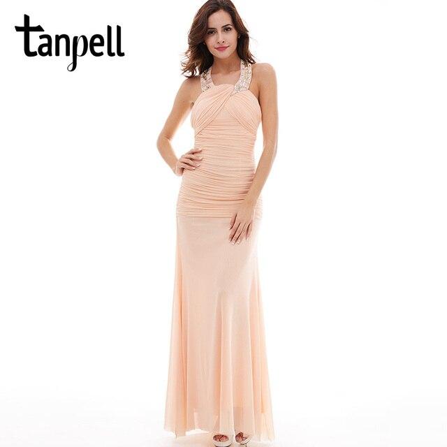 Tanpell halter evening dress pearl pink sleeveless straight floor ...