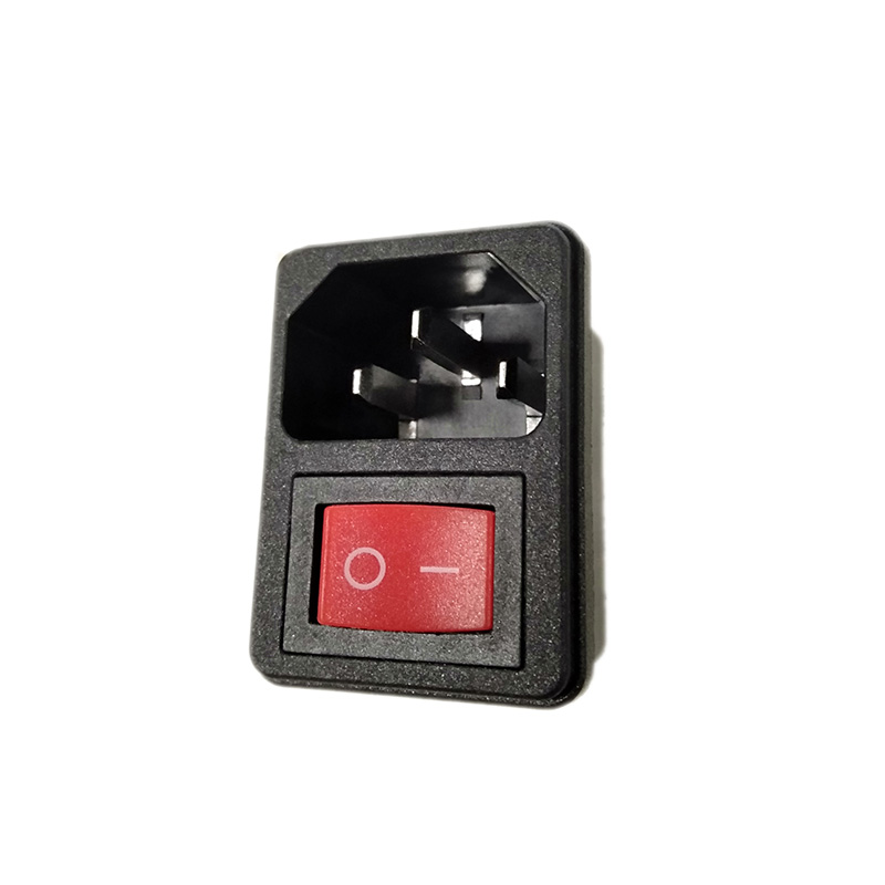 LZ-14-2F-RS <font><b>2</b></font> <font><b>pin</b></font> red rocker switch no light <font><b>AC</b></font> inlet power receptacle switch socket male dc power <font><b>connector</b></font> power adapter image
