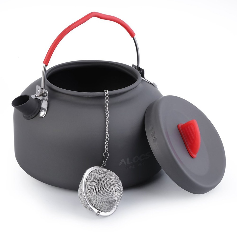 Alocs 1.4l 1 Person Outdoor Cookware Aluminum Kettle Outdoor Camping Picnic Pot With Stainless Tea Filter Ball In Bag Cw-k03 To Win A High Admiration