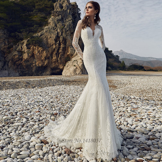 ecaf2196ff68 Robe de Mariee Sirene Com Manga 2017 Sexy Berta Wedding Dress Mermaid Long  Sleeve Bride Dresses Backless Wedding Gown Lace Beach