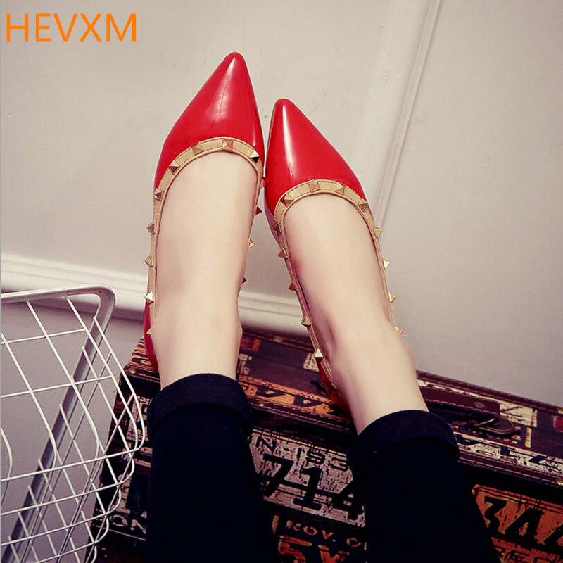 HEVXM 2017 new women's fashion shallow mouth pointed rivets casual flat shoes women work professional shoes size 35-39 2017 the new european american fashion horn bow pointed mouth shallow comfortable flat sheet metal red shoes tide size 35 41