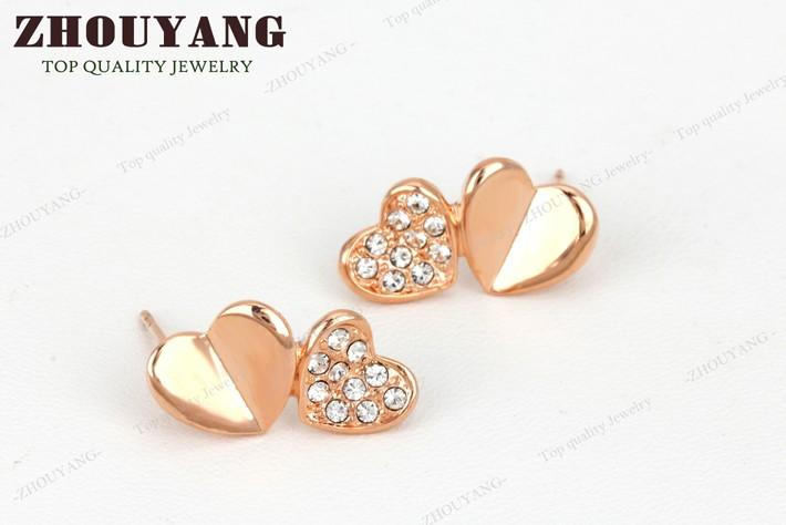 чжоуян zye143 двойное сердце серьги розовое золото цвет серьги подлинная австрийских кристаллов