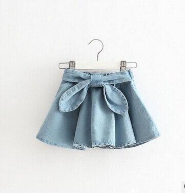 2016 summer Children's Clothing girls Skirts Bow big denim skirts