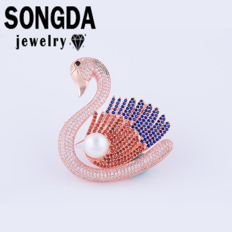 SONGDA Luxury Crystal CZ Swan Brooches Pins Jewelry Micro Pave Zircon For Women Girls Fashion Rhinestones Brooch Bijoux PA0073