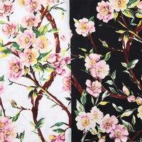 BZ66 100 140cm White Black Peach Blossom Printed Cotton Fabric Handmade DIY Fabric For Sewing Women