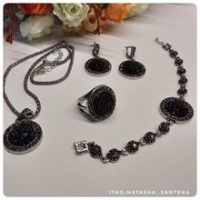 Antique Style Silver Black Round Stone Jewelry Set