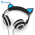 Gaming Auriculares de Oreja de Gato Creativos Luminoso Gaming Headset Auricular Plegable Que Brilla Intensamente Que Destella con luz LED Para PC Portátil