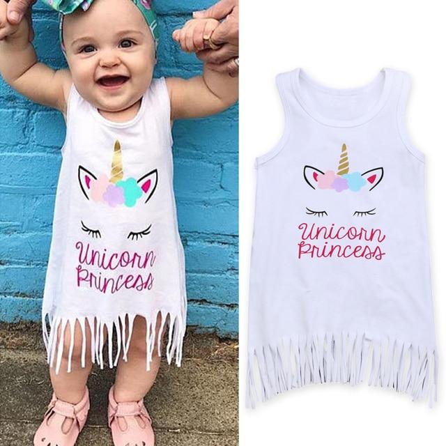 60c2f7583130d Rorychen Date Arrivées Chaude Infantile Nouveau-Né Enfant Kid Bébé Filles  Licorne Robes Vêtements Parti