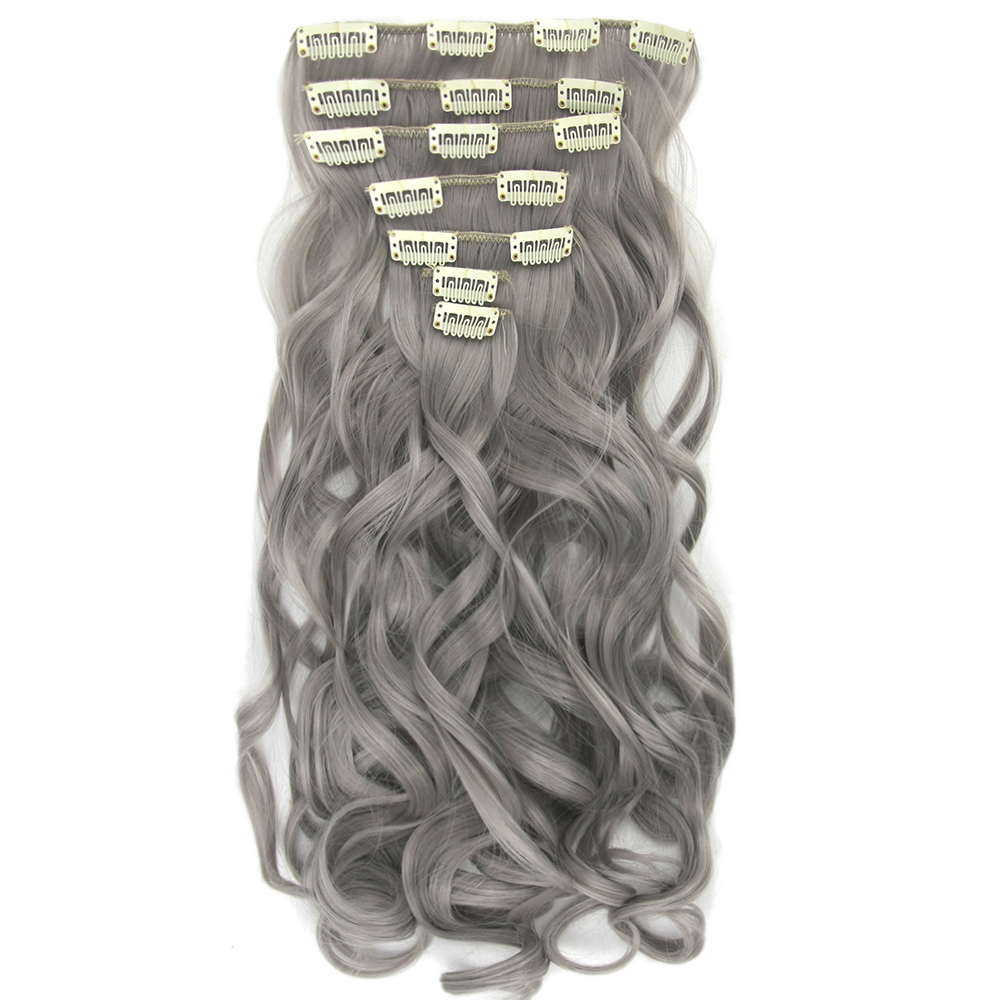 Soowee Women Hair Synthetic-Hair Curly Clip-In Black Long Gray Cabelo Full-Head 7pcs/Set