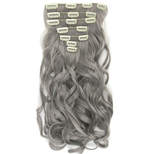 Soowee 7pcs/set Long Curly Black Gray Women Hair Synthetic Hair Clip In Hair Extension Full Head Hairpiece Cabelo 2