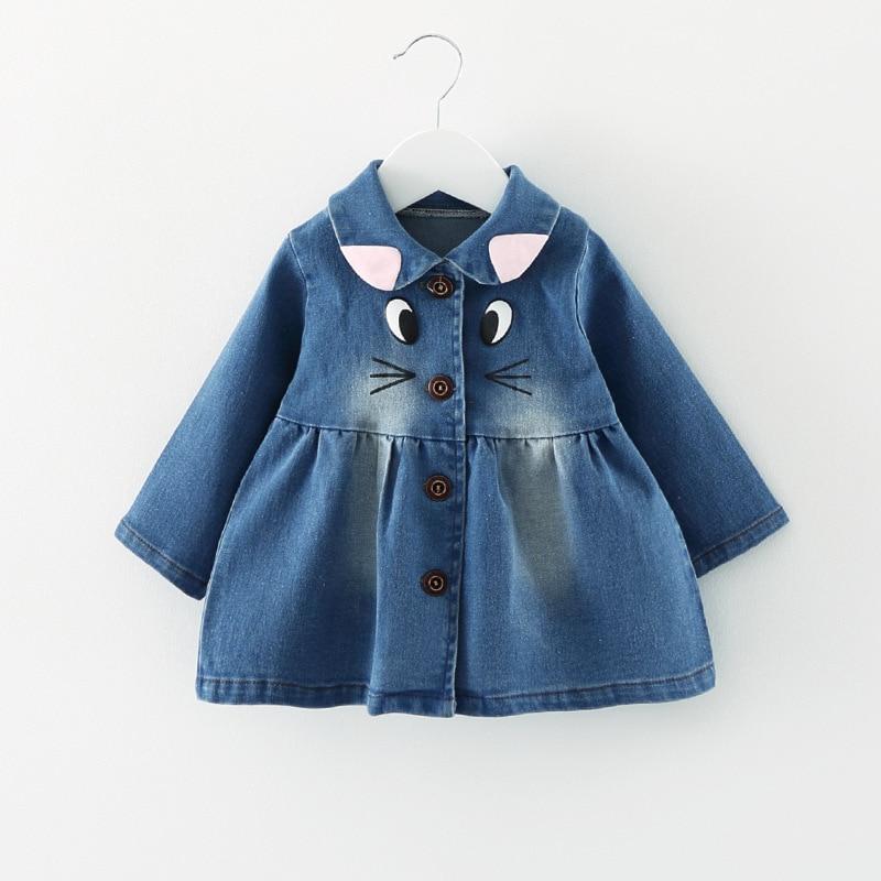 Spring 2017 Baby Girls Outerwear Coat print Cartoon Casual Denim Jacket little Children Clothes Cowboy long